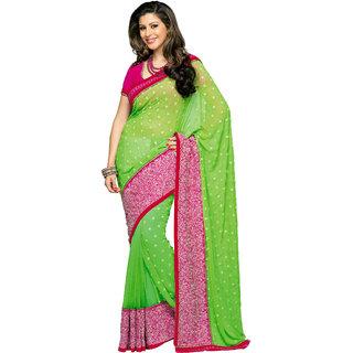 Prafful Green Georgette Printed Saree With Blouse