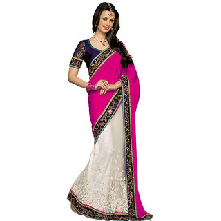 Prafful Magenta-White Silk  Embroidered Saree Party Wear Saree