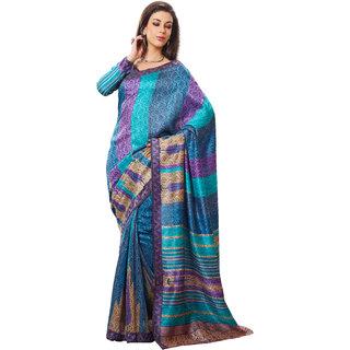 Prafful Green Silk Printed Saree With Blouse
