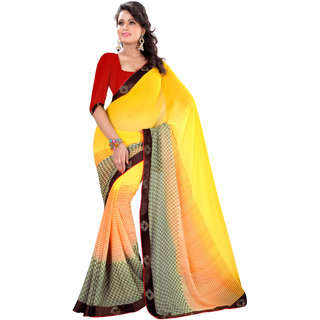 Prafful Yellow Georgette Printed Saree With Blouse