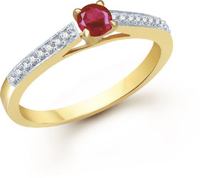 Meenaz  Solitaire Ring For Girls  Women Gold Plated In American Diamond  FR151
