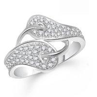 Meenaz  Fancy Ring For Girls  Women Silver Plated In American Diamond Cz  FR375