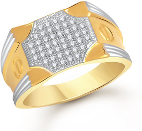 Meenaz Ring For Men Gold Plated  In American Diamond Cz FR458