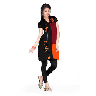 Black, maroon and orange chiffon readymade printed tunic (k51/44)