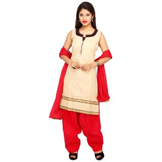 Stuties Women chanderi silk with Embroidery work with cotton lining Readymade salwar kameezM149L Red