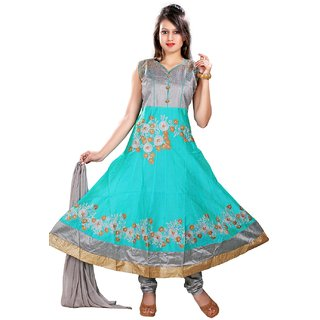 Stuties Women Anarkali chanderi silk with Embroidery work with cotton lining Readymade salwar kameezX5891XL SkyBlue