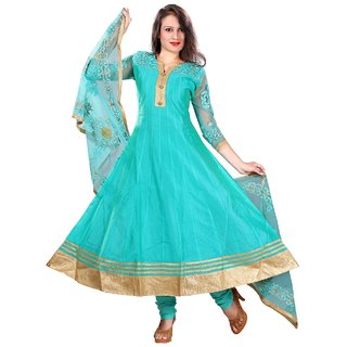 Stuties Women Anarkali chanderi silk with embroidery work in sleeves with cotton lining Readymade salwar kameezX5964L Rama