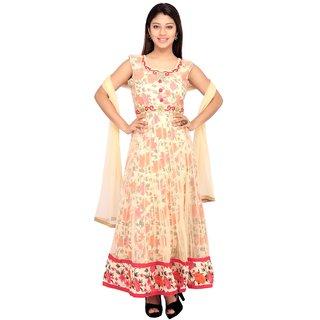 Stuties Women Anarkali net with Embroidery work with Chanderi Silk lining Readymade salwar kameezY126B4XL Red