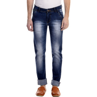 Revolt Mens Dark Blue Slim Fit Jeans
