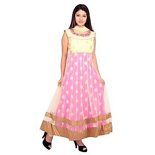 Stuties Women Anarkali net hand work in Neck line and embroidery work with Chanderi Silk lining Readymade salwar kameezO9419XL Pink