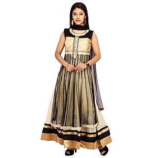Stuties Women Anarkali net hand work and embroidery work with Chanderi Silk lining Readymade salwar kameezO9582L Black