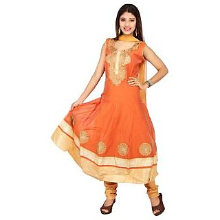 Stuties Women Anarkali chanderi silk with Embroidery work with cotton lining Readymade salwar kameezX5028XL Orange