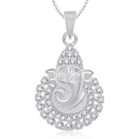 Ganpati God Pendant With Chain Lockets For Men And  Women Silver Plated In American Diamond Cz  GP271