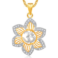 Om God Pendant With Chain Lockets For Men And  Women Gold Plated In American Diamond GP302