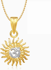 Om God Pendant With Chain Lockets For Men And  Women Gold Plated In American Diamond GP249