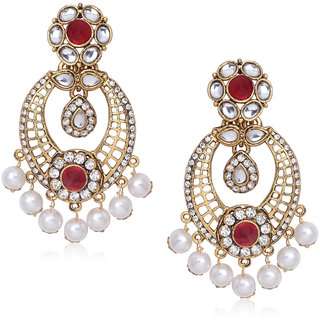 Meenaz Traditional Earrings Fancy Party Wear Kundan Moti Pearl Daimond Earrings For Women - TR125