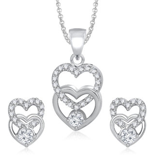 Meenaz  Pendants Set Jewellery For Women  Girls With Chain In American Diamond White Plated Cz Pendant And Locket Sets For Gifts PT163