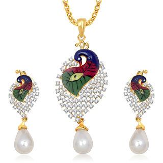 Buy meenaz pendants set jewellery for women girls with chain in meenaz pendants set jewellery for women girls with chain in american diamond gold plated cz pendant aloadofball Image collections
