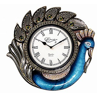 Ethnic India Art Peacock Wooden Carving Wall Clock Design