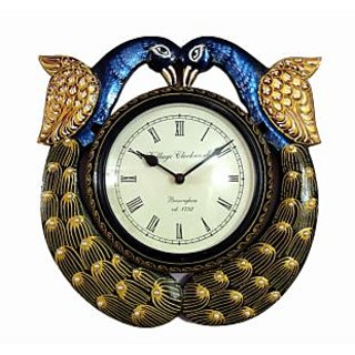 Ethnic India Art Peacock Wooden Carving Wall Clock