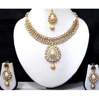 White pearl Dulhan Necklace Set