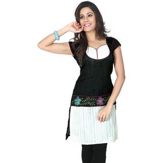 Black and white bhagalpuri silk readymade kurti (k29/44)