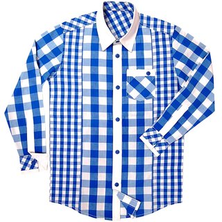blue check shirt for men