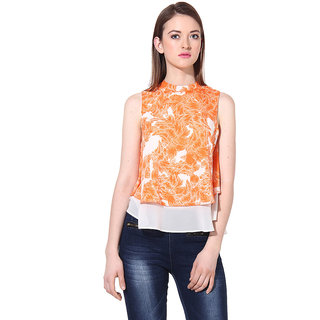 Oxolloxo Womens Orange Polyester Casual Top