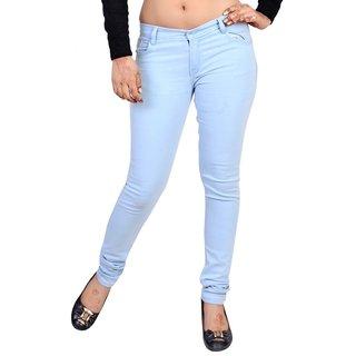 Forever Blue Cotton Slim Jeans For Women