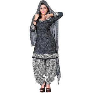 Womens Cotton Dress Material (NKFPT99010N/ABlack,Grey)