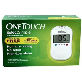 OneTouch Select Simple Glucometer JJ Machine with 10 Strips+Lifetime Warranty