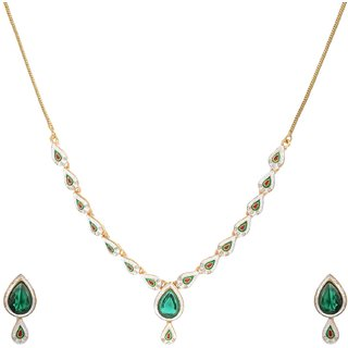 Green Imperial Necklace With Designer Earrings in Crystal Diamonds For Women