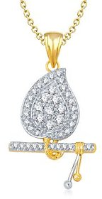Krishna  God Pendant With Chain Lockets For Men And  Women Gold Plated In American Diamond GP139