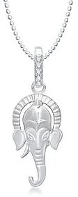 Ganpati God Pendant With Chain Lockets For Men And  Women Silver Plated In American Diamond Cz  GP160