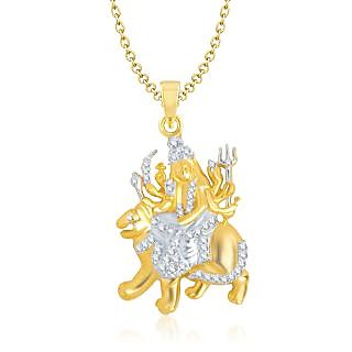 Laxmi God Pendant With Chain Lockets For Men And  Women Gold Plated In American Diamond GP120