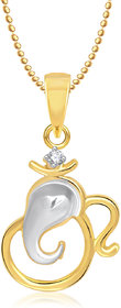 Om  Ganpati God Pendant With Chain Lockets For Men And  Women Gold Plated In American Diamond   GP224