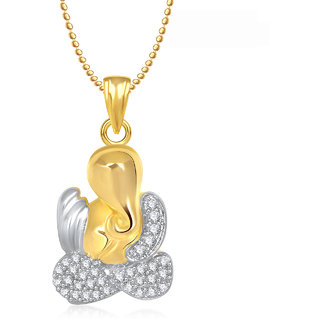 Ganpati God Pendant With Chain Lockets For Men And  Women Gold Plated In American Diamond Cz  GP226