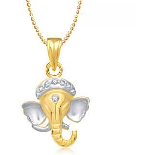 Ganpati God Pendant With Chain Lockets For Men And  Women Gold Plated In American Diamond Cz  GP236