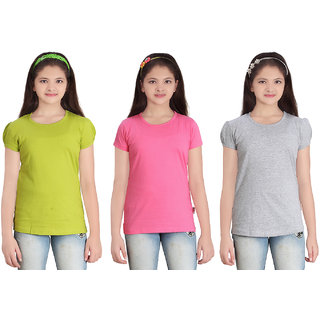 SINIMINI GIRLS SOLID ROUND NECK  TSHIRT (PACK OF 3)