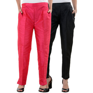 NumBrave Pink,Black Raw Silk Pants (Combo of 2)