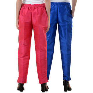 NumBrave Pink,RoyalBlue Raw Silk Pants (Combo of 2)