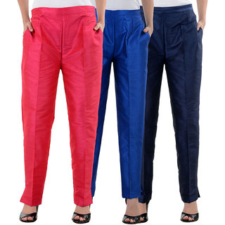 NumBrave Pink,RoyalBlue,NavyBlue Raw Silk Pants (Combo of 3)