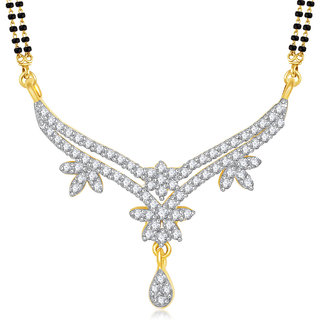 Meenaz Mangalsutra Gold Plated Cz In American Diamond For Girls  Women MS828