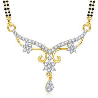 Meenaz Mangalsutra Gold Plated Cz In American Diamond For Girls  Women MS829
