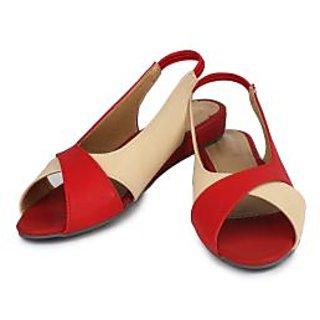 Do Bhai Women's Red Sandals
