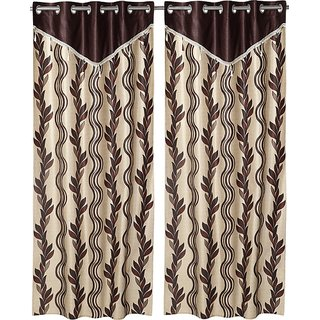 Comfort Zone Polyester Brown, Beige Abstract Eyelet Door Curtains Set of 2