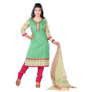 Stuties Women silk jacquard with cotton lining Readymade salwar kameezM258XL Green