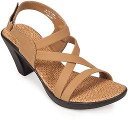 Khadims Womens Beige Slingback Heel Sandal