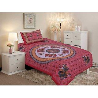 Salona Bichona Cotton Single Bedsheet with One Pillow Cover JP-2PCS-106C