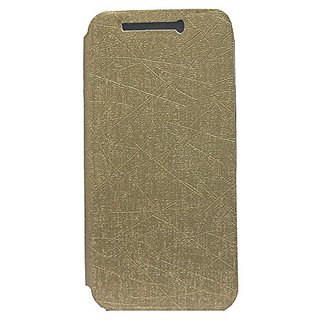 Jo Jo PU Rain Flip Cover Case With Stand For HTC One M9 Golden